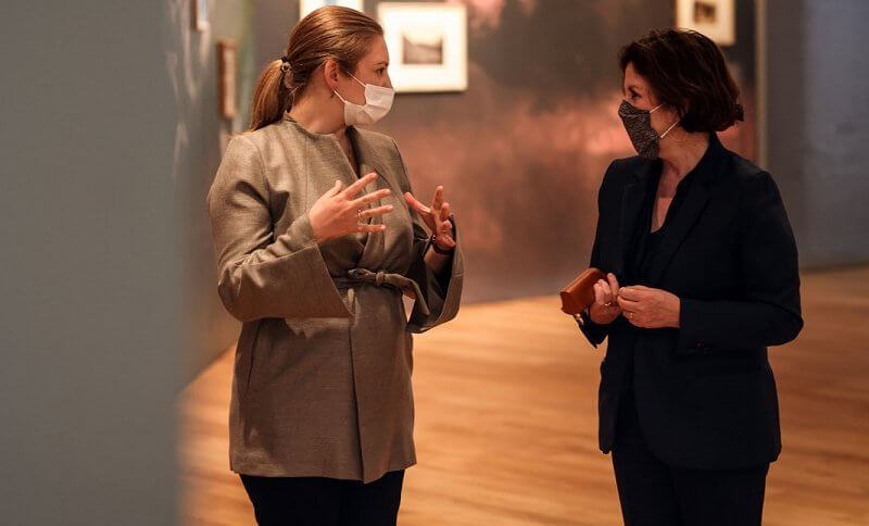 Hereditary Grand Duchess Stephanie wore a beige brown collarless belted silk jacket and black pants from Boden