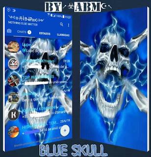 Blue Skull Theme For YOWhatsApp & Fouad WhatsApp By ABM