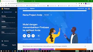 Halaman ringkasan project Google Firebase