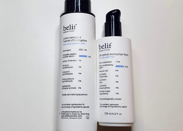 belif Oil control moisturizer fresh & Eucalyptus herbal extract toner Review