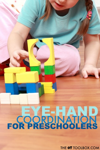 Eye hand development continues in the preschool years. Here are ways that eye hand coordination develops in preschool and how to improve these visual motor skills.