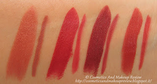 PuroBIO swatches lipstick+lip liner - da sinistra a destra: 02+08, 04+38, 05+39, 07+40 (luce naturale indiretta)