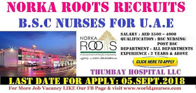 STAFF NURSE VACANCY IN THUMBAY HOSPITAL LLC, UAE