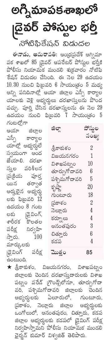 AP Fire Dept Driver Operator Jobs Recruitment Notification