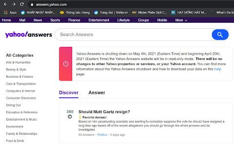 Giao diện của trang chủ answers.yahoo.com  quốc tế lúc hoạt động bình thường