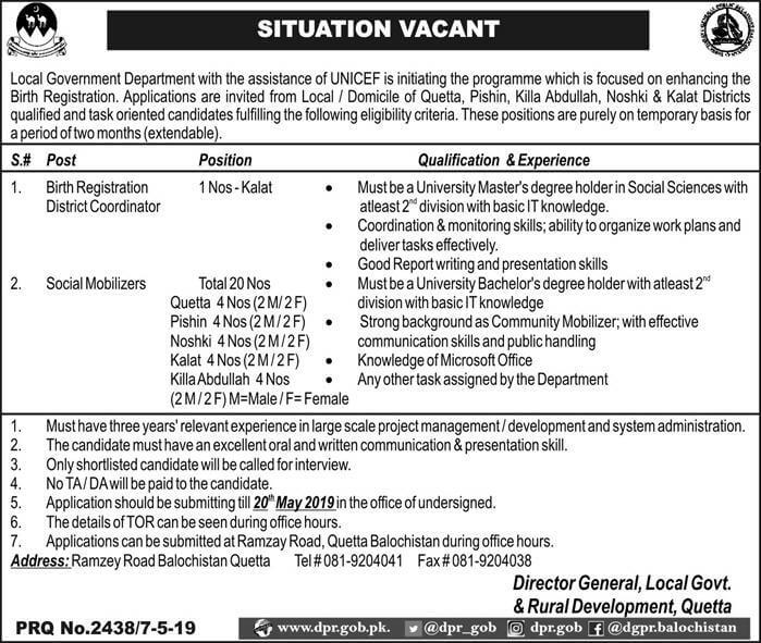Jobs in Local Govt and Rural Development Department Quetta 2019
