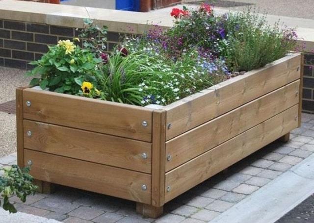 repurposing wooden containers outdoor garden planters