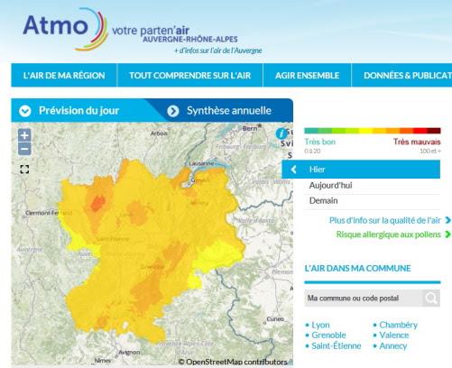 Carte qualité air Rhone-Alpes