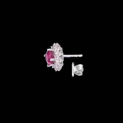 Bông tai Vàng trắng 14K đính đá Ruby PNJ RBXMW000020