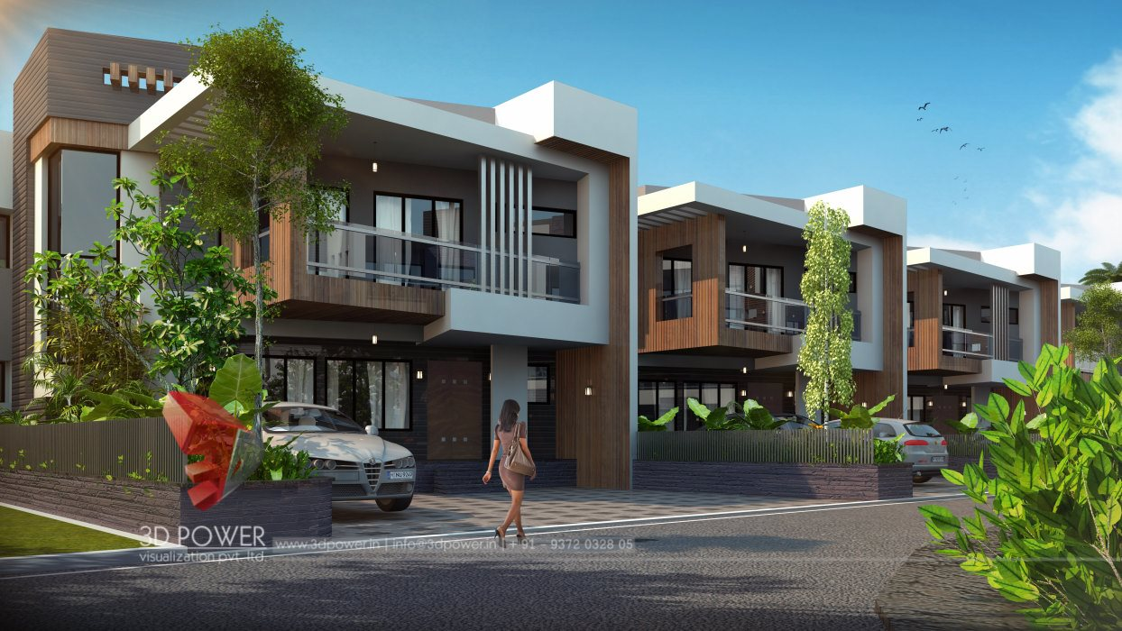 Residential towers row houses township designs villa for Modern row house plans