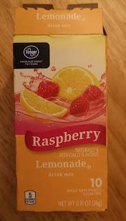 The box packaging for Kroger Raspberry Lemonade Drink Mix Sticks