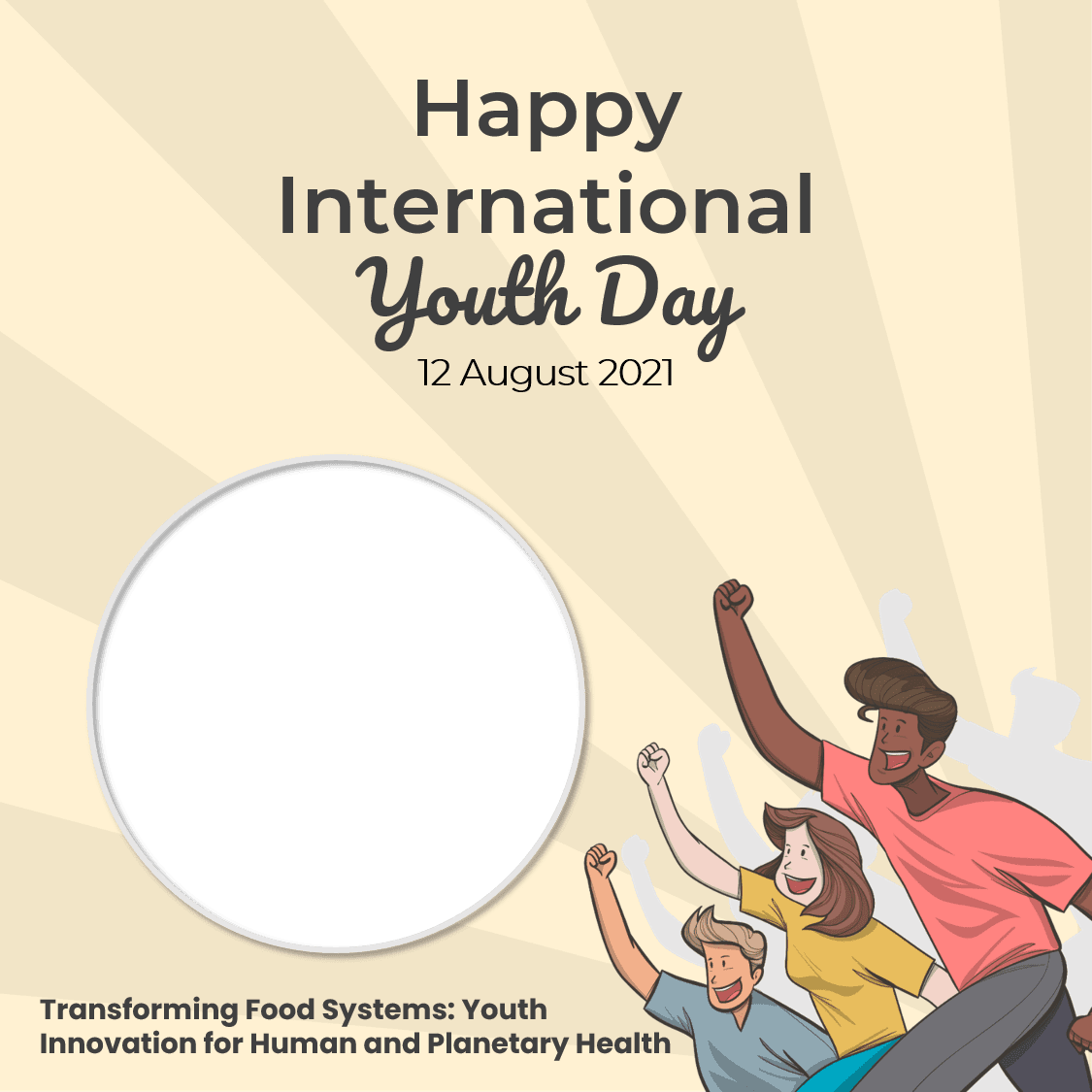 Template Backgound Frame Bingkai Twibbon Happy International Youth Day 12 August 2021 Quotes - Hari Remaja Sedunia 2021