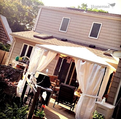 outdoor view of deck and gazebo