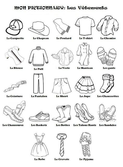 اسماء الملابس بالفرنسية للتلوين