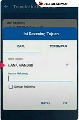 Masukan Bank Tujuan