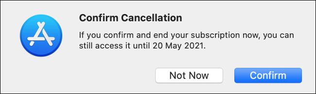 قم بتأكيد الإلغاء عبر متجر تطبيقات Mac