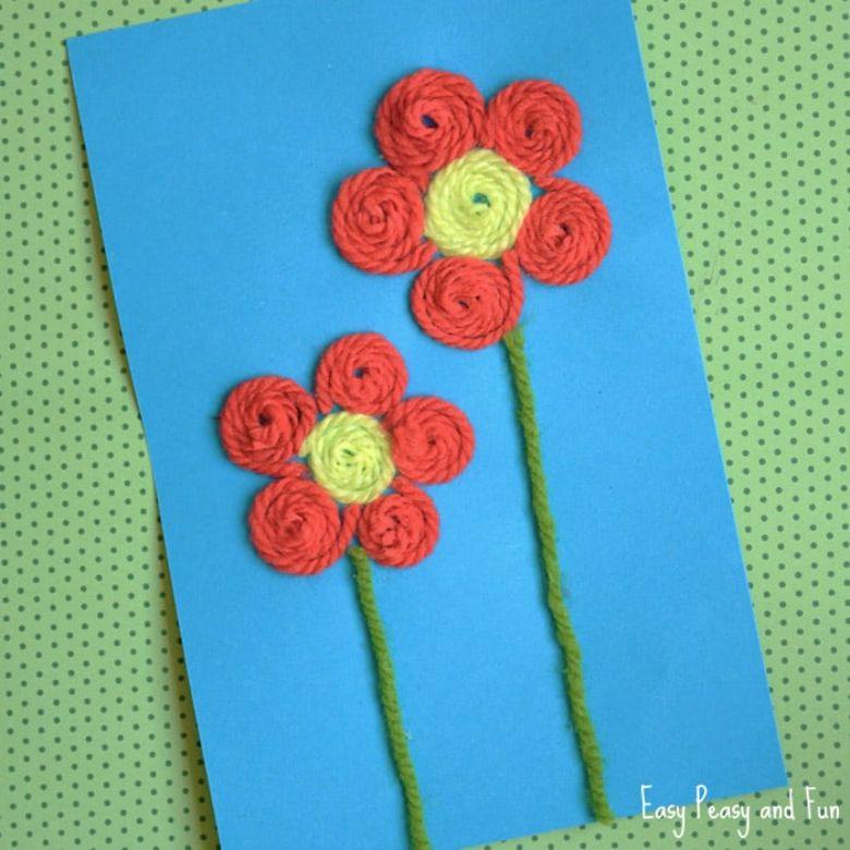 yarn flower craft for kids
