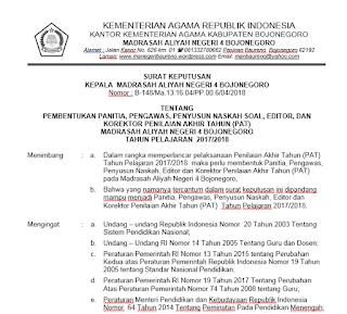 Contoh SK Panitia PAT Terbaru (Word)