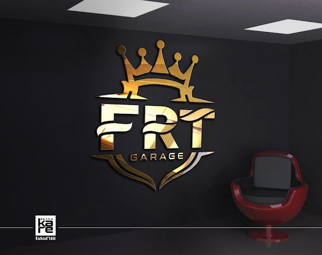 İstanbul FRT Garage Logo Gold Tasarım Araba Aksesuar Merkezi Logo duvarda 3d