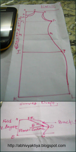 Drafting instructions for kurti and sleeves