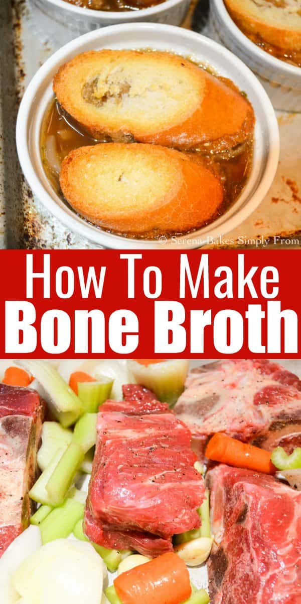 How to make Homemade Beef Bone Stock for all your favorite soups, stews and gravy using meaty beef bones for Homemade Beef Stock from Serena Bakes Simply From Scratch.