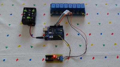 Fig.1 - 8 relay controllati da Arduino UNO R3 con un foglio di calcolo di Paolo Luongo