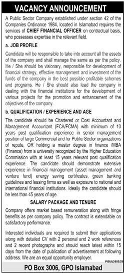 P.O Box 3006 Islamabad Jobs in Pakistan 2021, Public Sector Company Jobs Advertisement