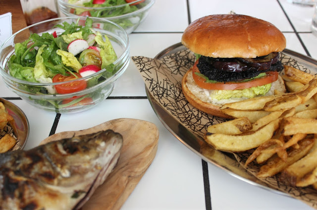 A picture of OAKS Restaurant Portobello Mushroom, Avocado and Aubergine Burger