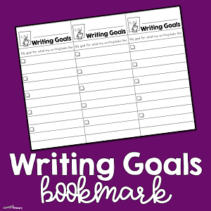 Writing Goals Bookmark