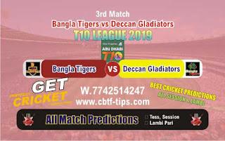 Who will win Today T10 2019, 4th Match Gladiators vs Tigers 4th, 100% Sure Prediction