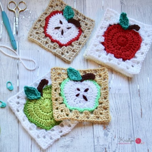 Apple Granny Square - Free Pattern