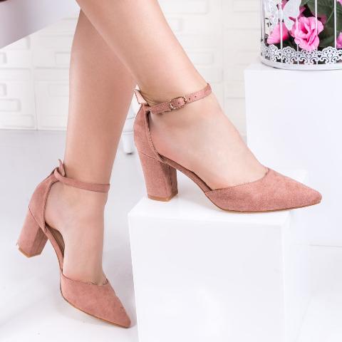 Pantofi de zi cu toc gros decuapti roz