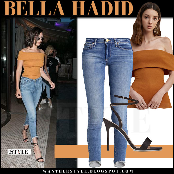 Bella Hadid in off shoulder ochre top c/meo and skinny jeans true religion halle what she wore may 17 2017 cannes