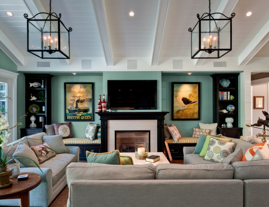 home design green wall eclectic room