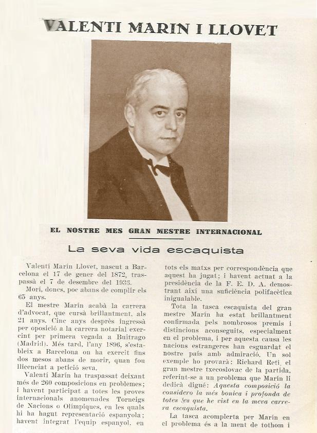 Fragmento del artículo sobre Valentín Marín en el Els Escacs a Catalunya