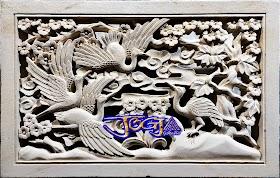 Roster ventilasi rumah gambar burung bangau di buat dari batu alam jogja
