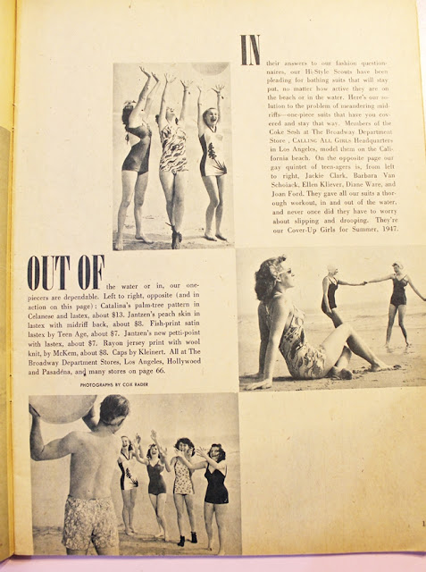 1940s vintage teen girls swimsuit fashion magazine