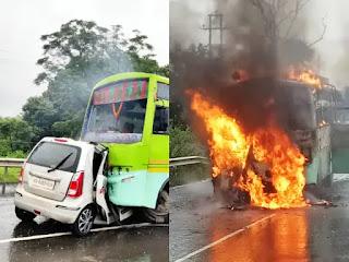 झारखंड में हुआ बड़ा सड़क हादसा, कार पर चढ़ी बस, 5 लोगों की जिंदा जलने से हुई मौत