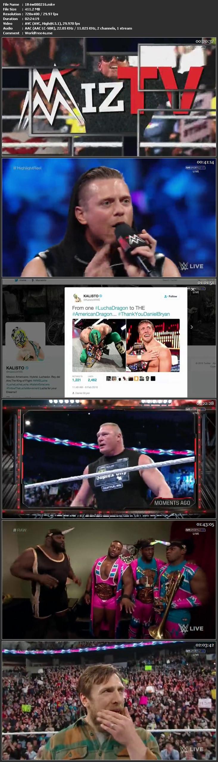 Screen Shot WWE Monday Night Raw 8th February 2016 HDTV 480P 400MB