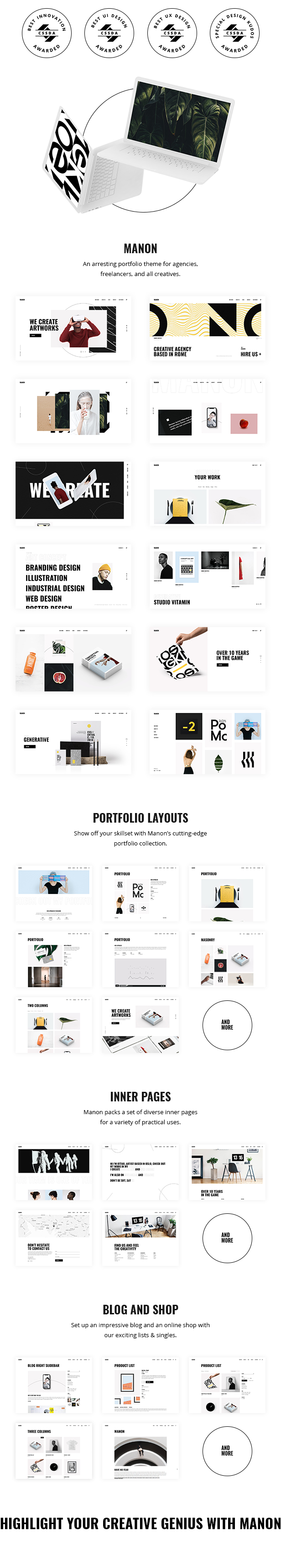 Portfolio & Agency WordPress Theme - Manon