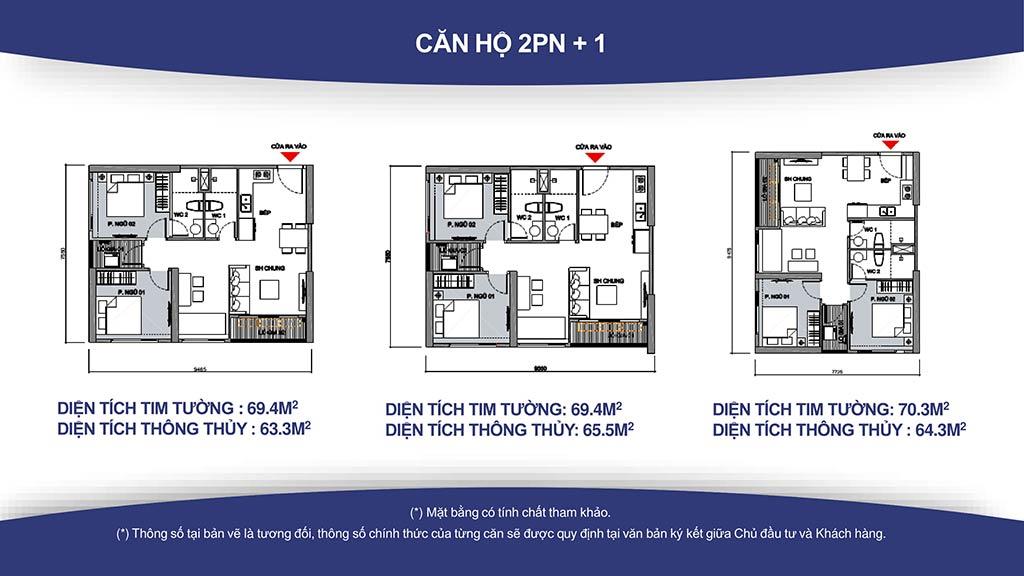 Mặt bằng căn hộ 2 phòng ngủ diện tích từ 59m2