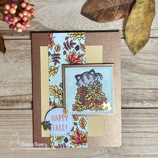 Happy Fall by Debbie features Fall Roundabout, Autumn Newton, Slimline Frames & Windows, and Circle Frames by Newton's Nook Designs; #inkypaws, #newtonsnook, #catcards, #cardmaking, #fallcards