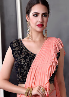 Peach Lycra Pre-Stitched Ruffled Saree With Blouse indian party saree front design
