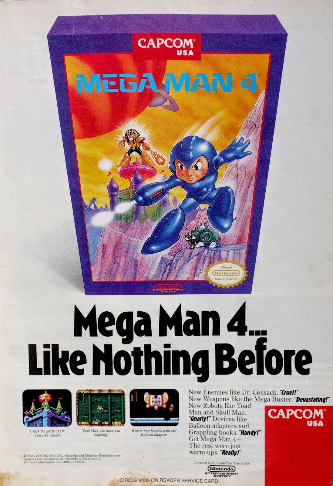 Mega Man 4 for NES advertisement