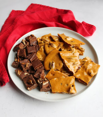 plate of fudge and pecan brittle