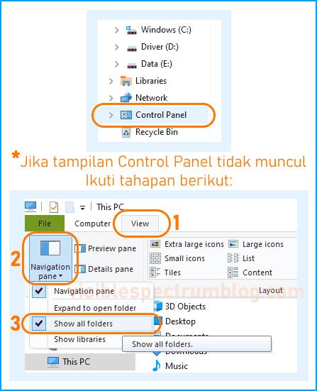 membuka Control Panel lewat Windows Explorer
