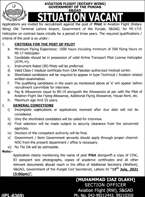 Latest Jobs in Services & General Administration Department Punjab 2021
