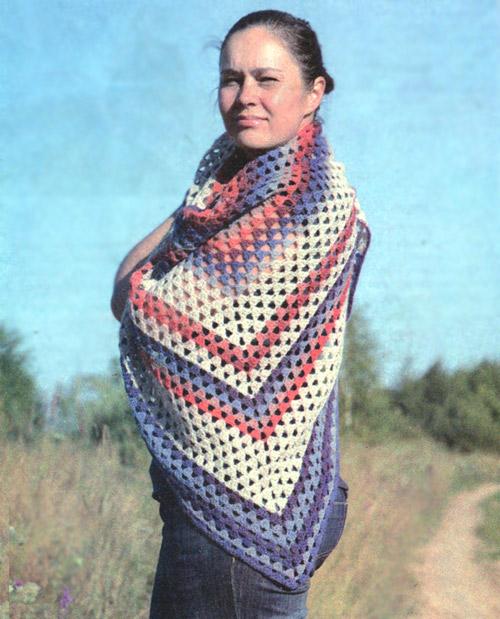 Меланжевая шаль. Shawl - Crochet