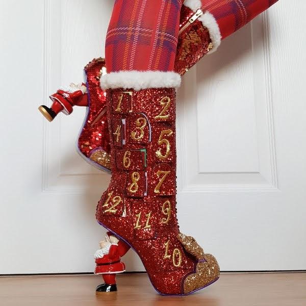 wearing irregular choice red glitter advent calendar boots