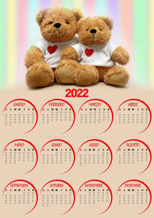 calendario 2022 de peluche